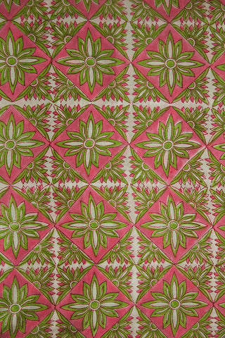 Light Pink with Green Sanganeri Cotton Fabric