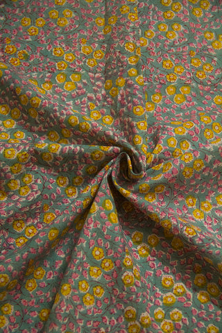 Grey Floral Sanganeri Cotton Fabric-1 m