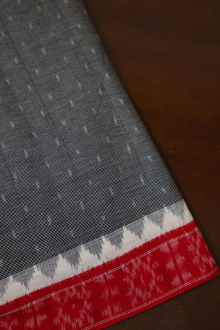Stripes with Red Border Handwoven Ikat Fabric