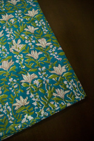 Ramar Blue with Green Floral Sanganeri Cotton Fabric - 1.9m