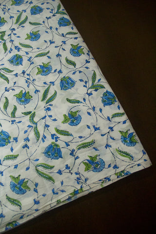 White with Blue Sanganeri Cotton Fabric