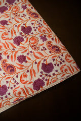 Dark Purple with Orange Sanganeri Cotton Fabric-0.7 m