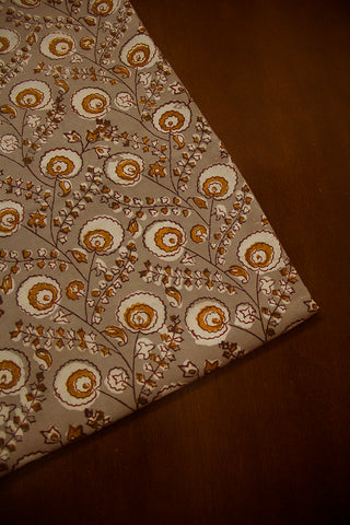 Light Grey Floral Block Printed Cotton Fabric-1.3 m