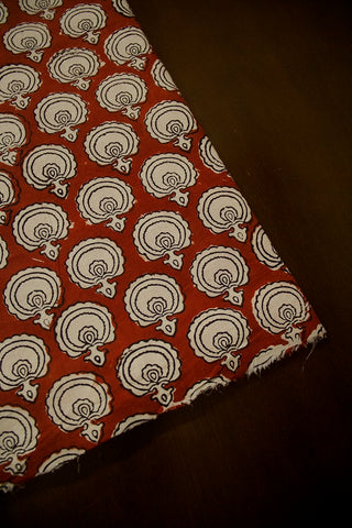Brick Red with Block Printed Cotton Fabric