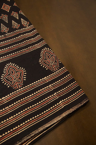 Black with Maroon Diamond Ajrak Cotton Fabric