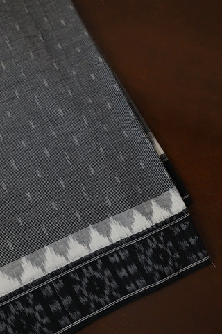 Fine Stripes in Black Handwoven Ikat Border Fabric