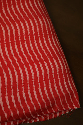 Red with Waves Handwoven Ikat Cotton Fabric