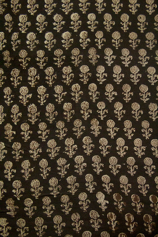 Black with Off White Block Printed Cotton Fabric