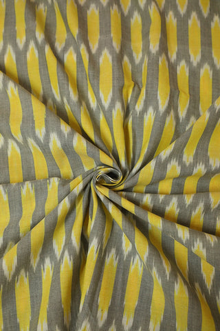 Grey with Yellow Handwoven Ikat cotton Fabric