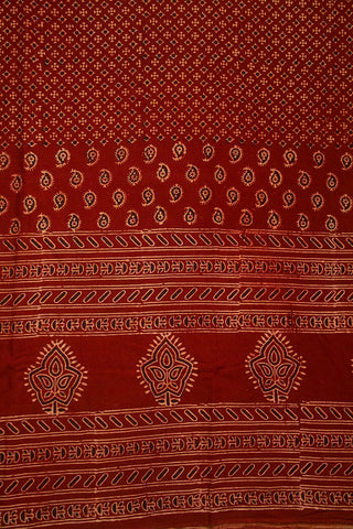 Maroon with Beige Paisley Ajrak Cotton Fabric