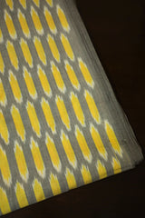 Grey with Yellow Handwoven Ikat cotton Fabric-2.3 m