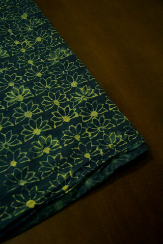 Subdued Blue with Yellowish Green Lotus Block Printed Cotton Fabric