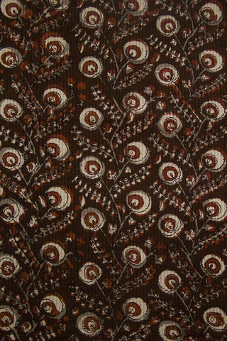 Dark Brown with Off White Block Printed Cotton Fabric -2.2m