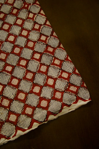 Maroon with Beige Checks Block Printed Cotton Fabric-1.5m