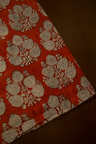Brick Red with Beige Leaf Block Printed Cotton Fabric