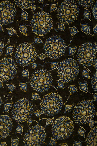 Blue with Black Flower Circle Block Printed Cotton Fabric