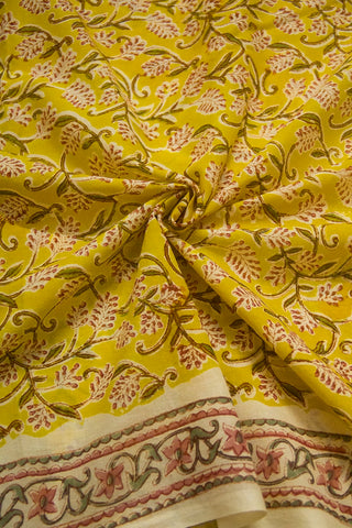 Yellow with Peach Floral Block Printed Cotton Fabric