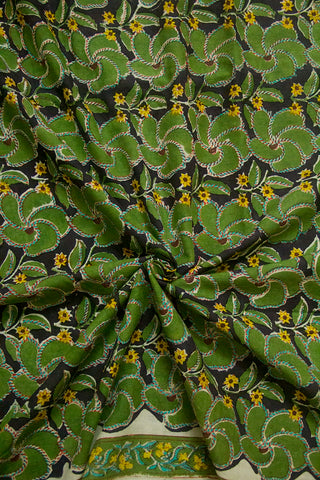 Moss green with Black Sanganeri Block Printed Cotton Fabric-1.7 m