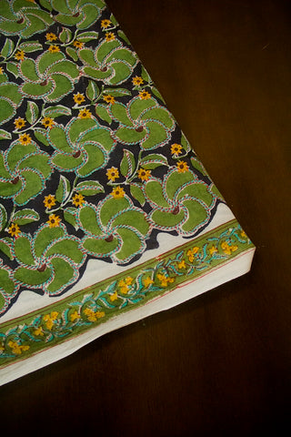 Moss green with Black Sanganeri Block Printed Cotton Fabric-2.3 m