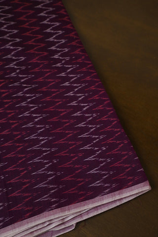 Blackish Purple Mercerized Ikat Cotton Fabric