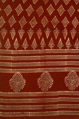Beige with Maroon Diamond Ajrak Cotton Fabric