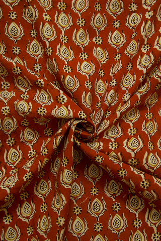 Rust Red Block Printed Cotton Fabric-1.3m