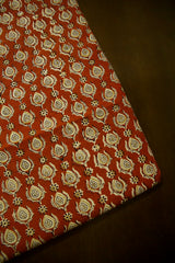 Rust Red Block Printed Cotton Fabric