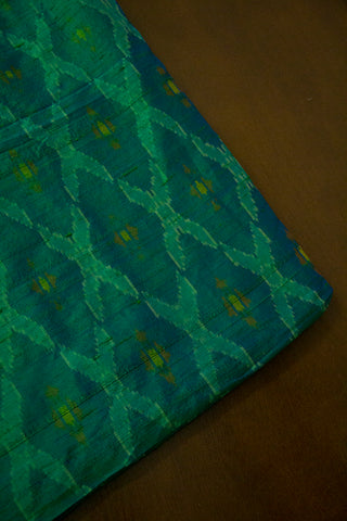 Double Shaded Peacock Blue  Raw Silk Ikat Fabric