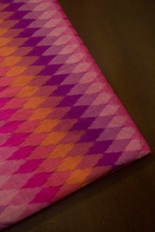 Shades of Pink and Purple Handwoven Ikat Silk Cotton Fabric
