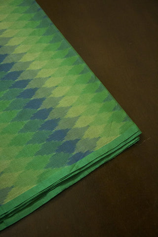Shades of Green Handwoven Ikat Silk Cotton Fabric -0.9m