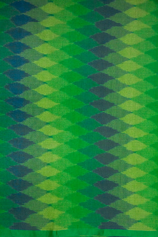 Shades Of Green Ikat Silk Cotton Fabric