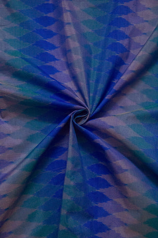 Shades of Blue Diamond Handwoven Ikat Silk Cotton Fabric