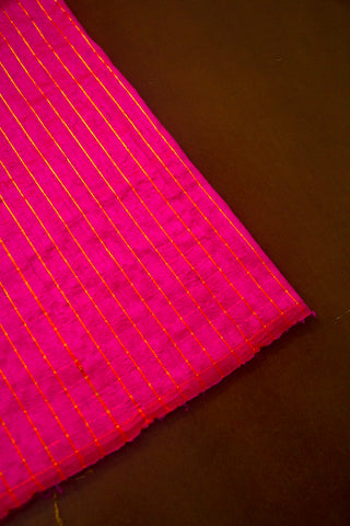 Rani Pink Handwoven Raw Silk Zari Checks Fabric-0.5 m