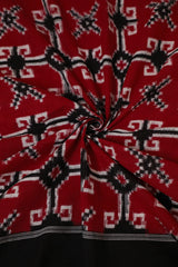 Red with Black Telia Rumal Ikat cotton Fabric
