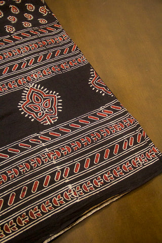 Black with Maroon Paisley Ajrak Cotton Fabric