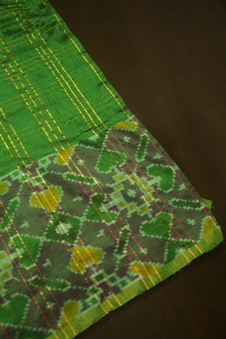 Green Raw Silk Ikat Fabric - 0.6m