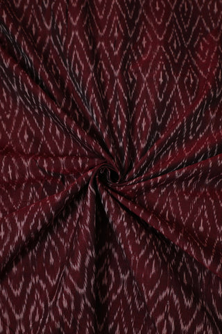 Double Shade Black Maroon Mercerized Ikat Cotton Fabric
