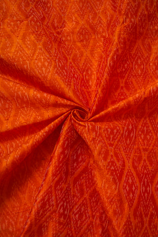 Brownish Orange Raw Silk Ikat Fabric - 1m