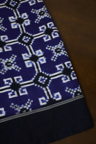 Blue with Black Ikat Telia Rumal Cotton Fabric