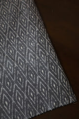 Ash Grey Mercerized Ikat Cotton Fabric