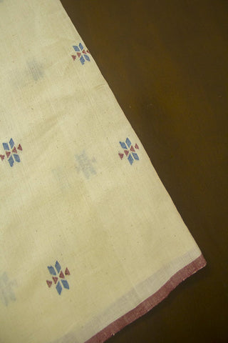 Off White Khadi Jamdani Cotton Fabric - 1m