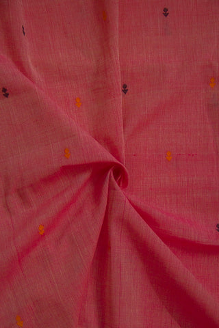 Pink with Black and Orange Deepam Dobby Butta Handwoven Cotton Fabric