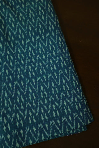 Double Shade Greenish Blue Handwoven Ikat Fabric