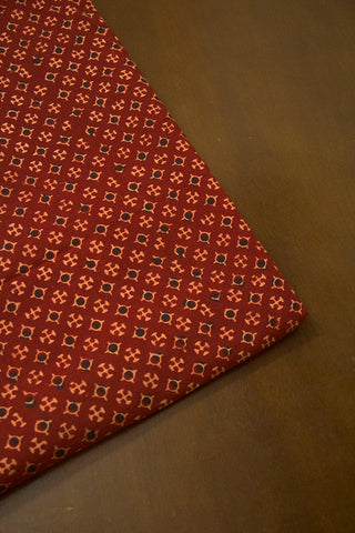Maroon with Black Dots Ajrak Cotton Fabric
