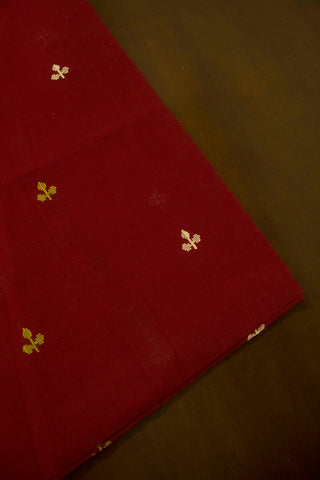 Maroon 3 Leaves Dobby Butta Handwoven Cotton Fabric
