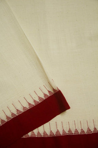 Off White with Red Temple Kuppadam Border Khadi Cotton Fabric - 0.5m