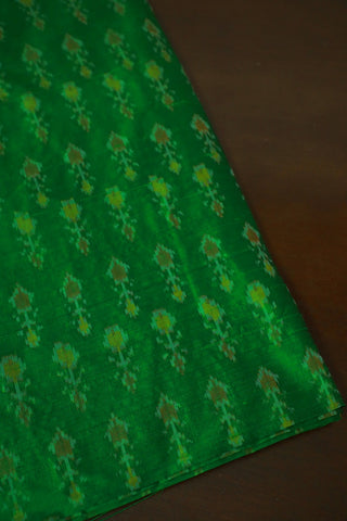 Green with Yellow Ikat Raw Silk Fabric