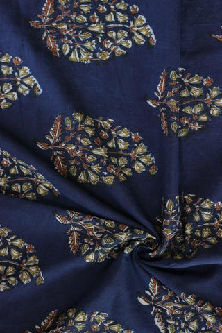 Indigo with Big Leaf Block Printed Cotton Fabric