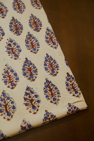 Blue with Maroon Flowers Ajrak Cotton Fabric