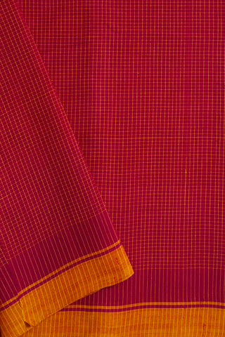 Pink with Yellow Fine Checks Handwoven Cotton Fabric